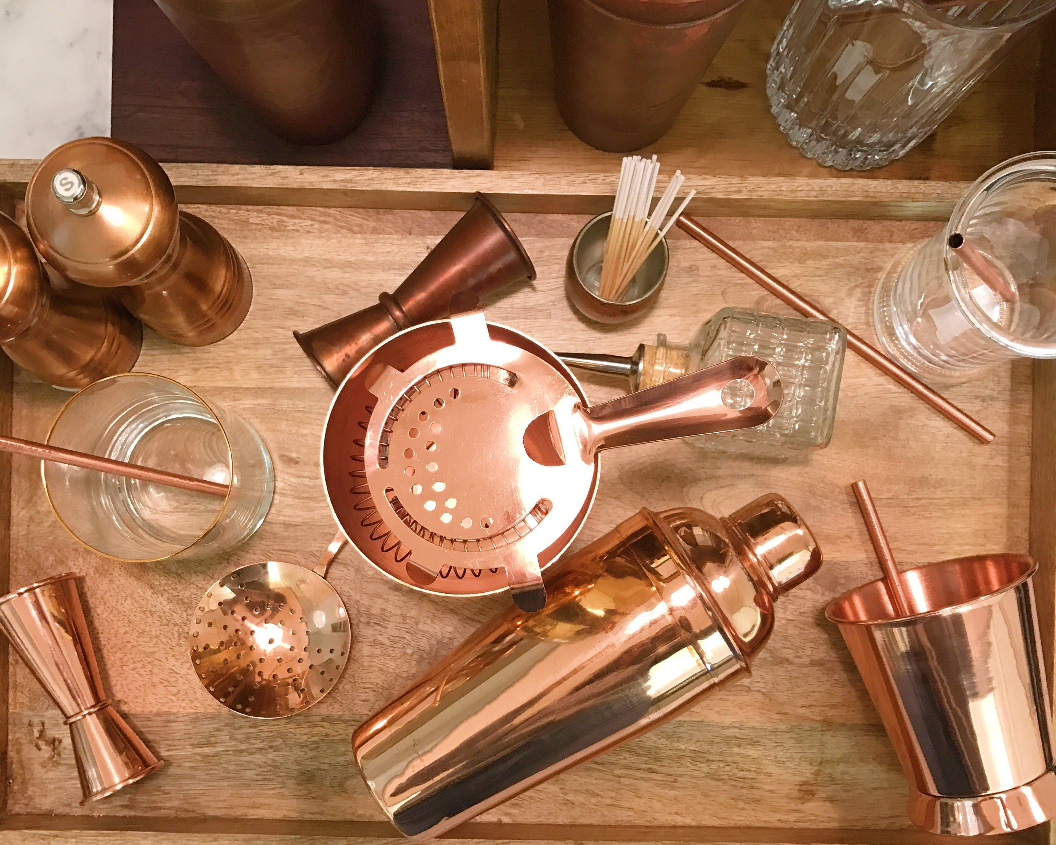 upscale copper barware for cocktail bars