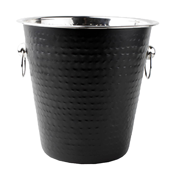 BAR NOIR WINE BUCKET 21.5X21 CM BLACK HAMMERED S/S EA