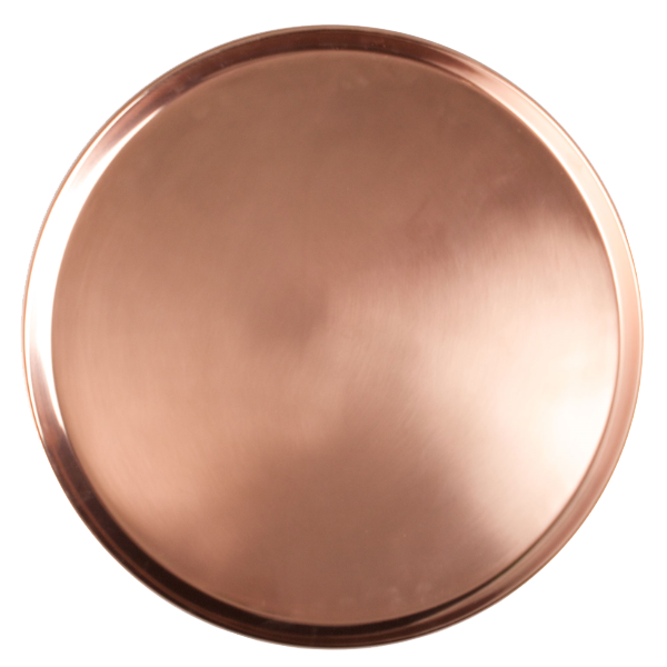 "COPPER BAR ROUND TRAY 14-1/2"" 4EA/CS"