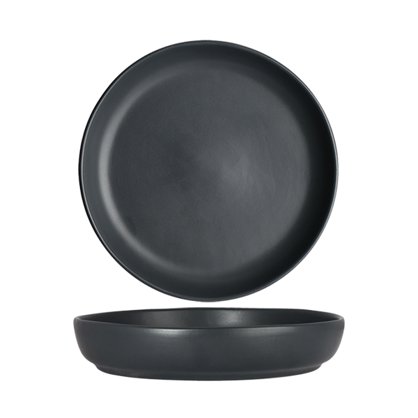 "CHENA MATTE BLACK SHALLOW BOWL 8"" 1DZ/CS"