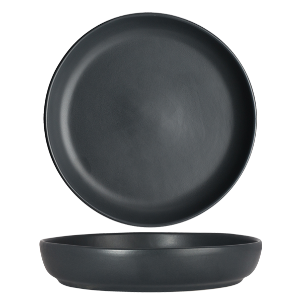 "CHENA MATTE BLACK SHALLOW BOWL 10.63"" 1DZ/CS"