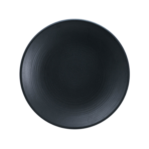 "CHENA MT BLACK EMBOSSED PLATE 6"" COUPE 2DZ/CS"