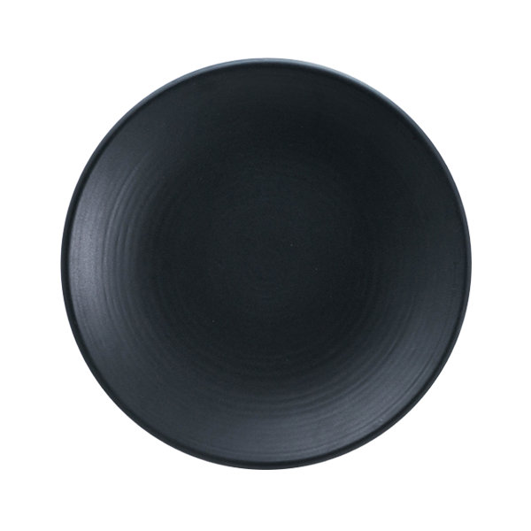 "CHENA MT BLACK EMBOSSED PLATE 7 1/2"" COUPE 2DZ/CS"