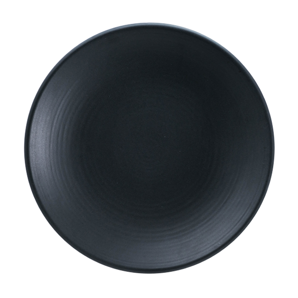 "CHENA MT BLACK EMBOSSED PLATE 9"" COUPE 1DZ/CS"