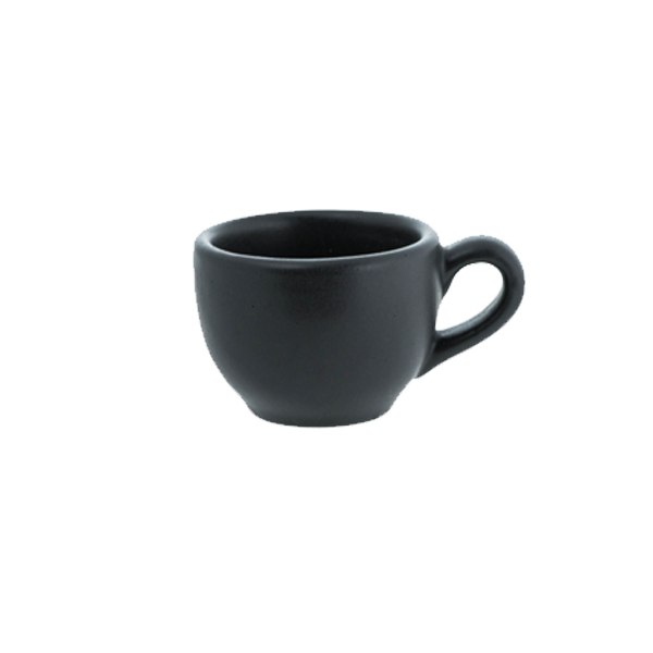 CHENA MATTE BLACK COFFEE CUP W/ HANDLE 8-1/4OZ 1DZ/CS