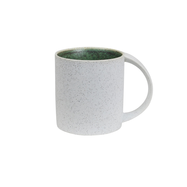 TERRAIN MUG 11 2/3 OZ WHITE SPECKLE / GREEN INTERIOR 12/CS
