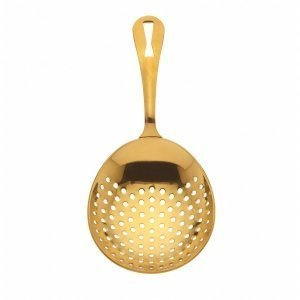 "JULEP STRAINER BARFLY GOLD PLATED 18/8 S/S 6 1/2""L"