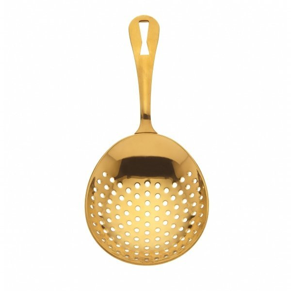 """JULEP STRAINER BARFLY GOLD PLATED 18/8 S/S 6 1/2""""L"""