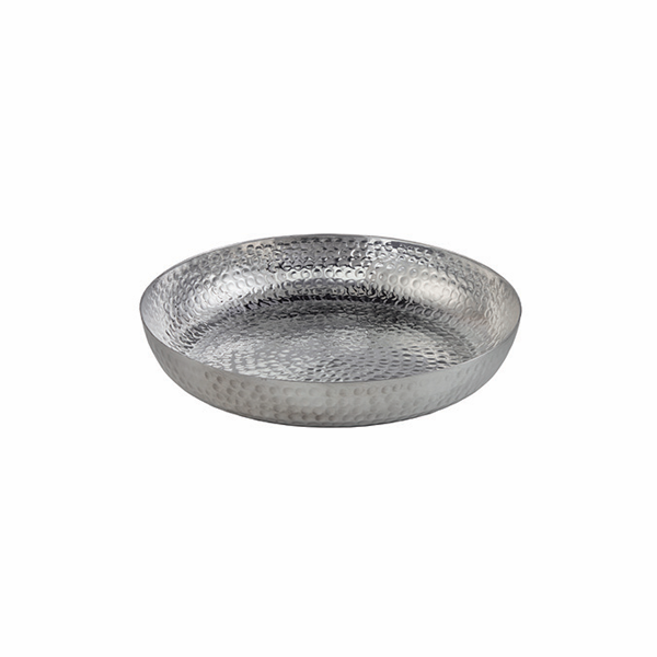 "SEAFOOD TRAY 80 OZ 12""X2"" ROUND HAMMERED ALUM SILVER"