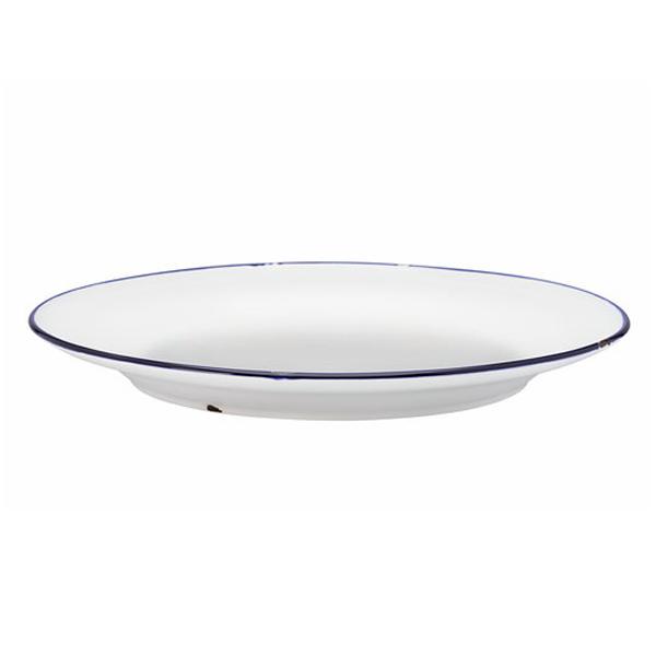 """TIN TIN PLATE 6.75""""DIA COUPE ROLLED EDGE WHITE/BLUE 2DZ/CS"""