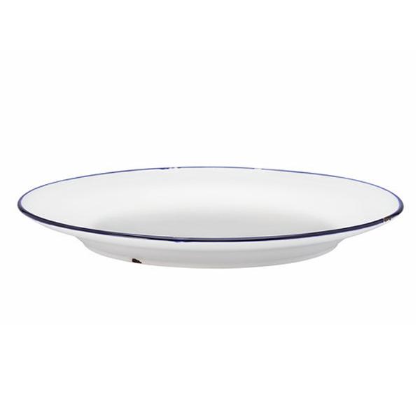"""TIN TIN PLATE 10.75""""DIA COUPE ROLLED EDGE WHITE/BLUE 1DZ/CS"""