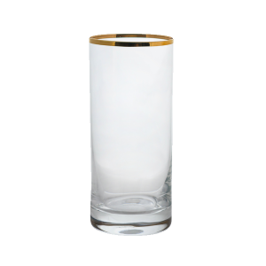Gold Miners Highball Glass, 11 ounce capacity, gold rim